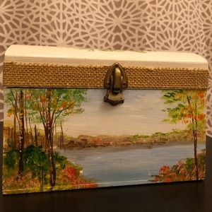 Vintage Handpainted Wooden Unique Jewelry Box